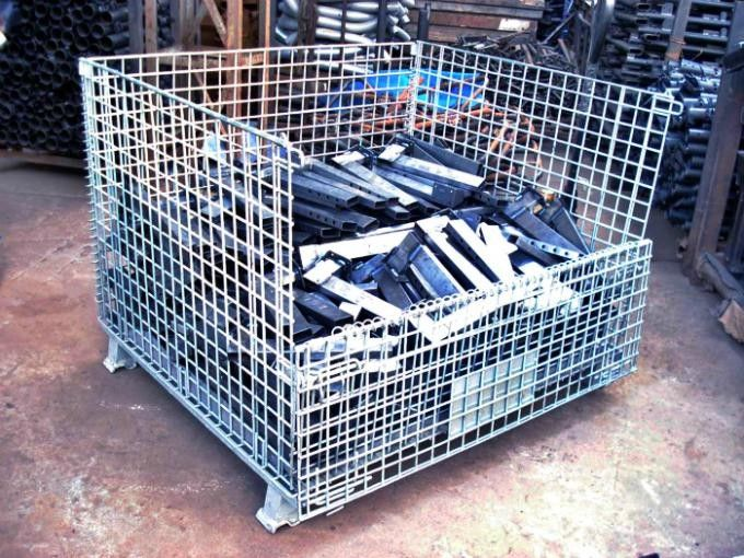 Transport Cargo Collapsible Wire Containers Hot Dipped Galvanized Stacking 4 Tiers
